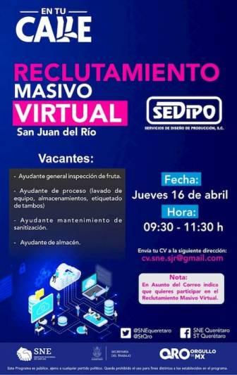Reclutamiento virtual, contratación inmediata en San Juan del Río