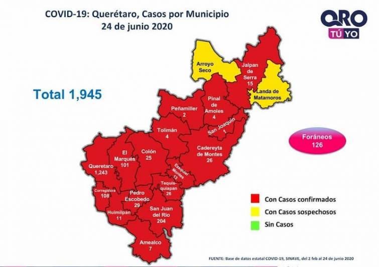 Querétaro con mil 945 casos de enfermedad COVID-19