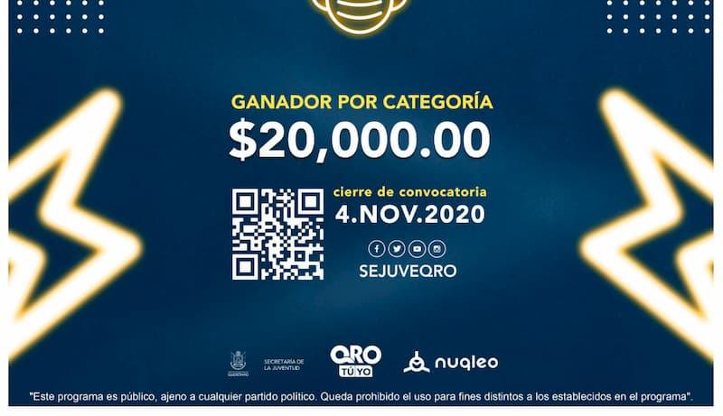 Invita Sejuve a participar en Premios Juventud 2020 en Querétaro