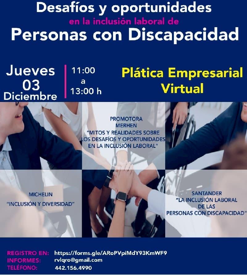 Empresarios de Querétaro darán plática de inclusión laboral