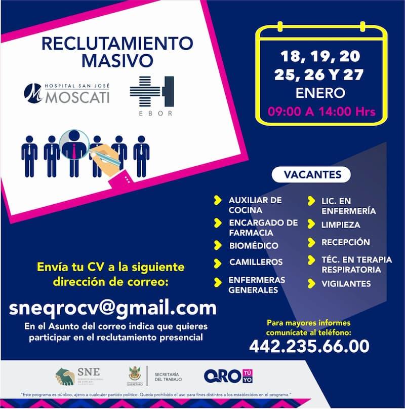 Convocan a reclutamiento masivo para trabajar en el área de salud del estado de Querétaro