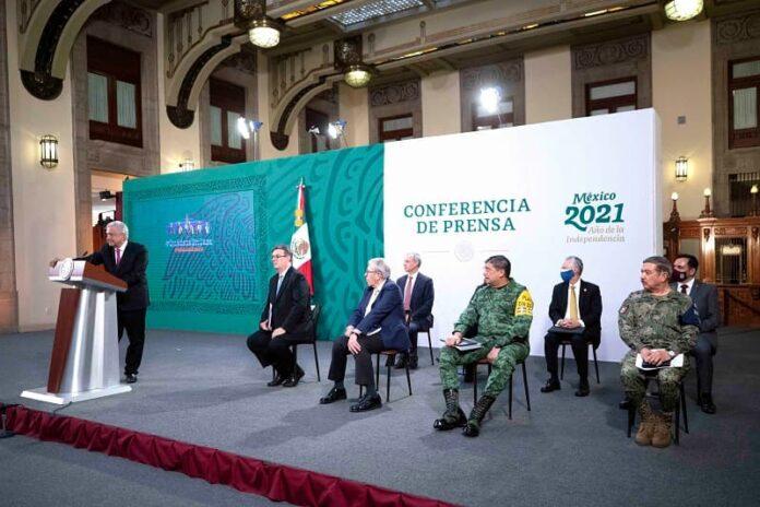 Conferencia de prensa matutina. Salón de la Tesorería, Palacio Nacional