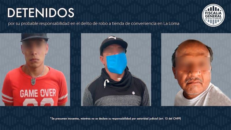 Detienen a 3 sujetos por robo a tienda de conveniencia en La Loma, QRO